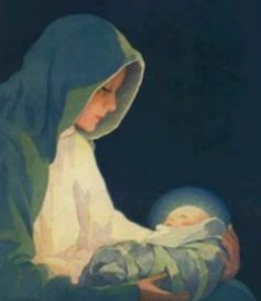 Mary and the infant Jesus (clipart)